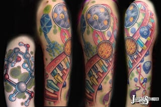 Here artist Jason Stomber has woven the double helix into a full sleeve.