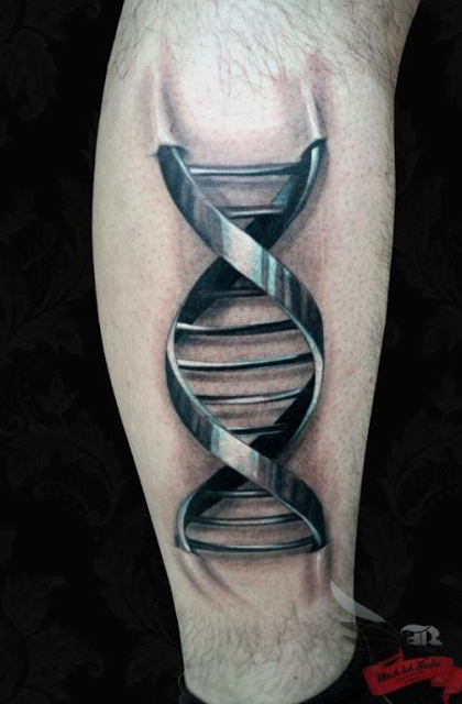 metallic DNA 3D Tattoo fairylandtattoos.com  DNA Ink